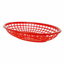 BarBits Red Oval Fast Food Baskets Set of 6 - American Diner Plastic Side Burger