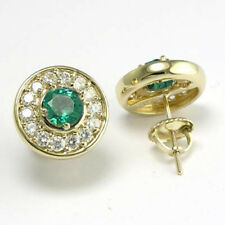14k Solid Gold Emerald Diamond Stud Earrings Style Number: E549.