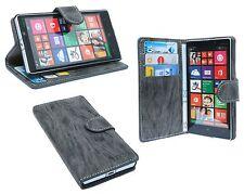 Handy Tasche Etui Hülle Schutz für Nokia Lumia 930 Book-Style + Folie Anthrazit