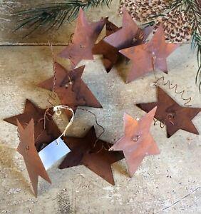 "Primitive Rusty Wire Metal Barn Star Garland 5'-6' Feet 3"" Stars Craft Wedding"