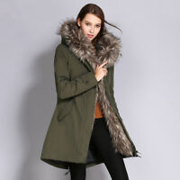 Womens Winter Warm Down Jacket Thick Long Coat Fox Fur Hooded Parka Puffer Coat