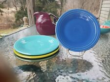 "4 Luncheon PLATES set lot turquoise lapis sage HOMER LAUGHLIN FIESTA WARE 9"" NEW"