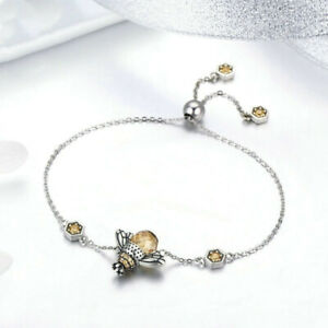 Silver Orange Wing Animal Bee Pendants Bracelet For Women Jewelry