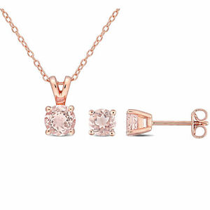 Amour Rose Plated Sterling Silver Morganite Necklace and Earrings Set