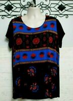 Covington Knit Top Size 2X Multi Colored Short Sleeved Round Neck Blouse Shirt