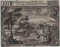 Spiele Kinder machen UNFUG wertvoller Original Ornament  Kupferstich um 1660