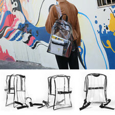 Clear Backpack Transparent School Bag Security PVC Zipper Travel Sport Rucksack