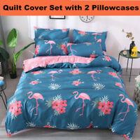 Pink Flamingo Quilt Duvet Doona Cover Set Pillowcases Single Double Queen Size