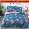 Pink Flamingo Quilt Duvet Doona Cover Set Pillowcases Single Double Queen Size