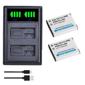 2x  Li-50B Li50B Camera Battery  + LCD USB Dual Charger for Olympus u6010 u6020