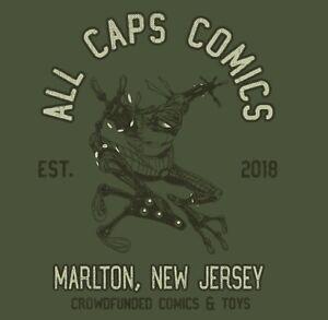 NEW! CYBERFROG!  ALL CAPS COMICS Camp T-Shirt!  Military Green!
