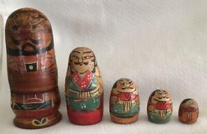 "RARE 5"" Antique Vintage Kokeshi Japanese Nesting Doll Samurai Man Wooden 5 dolls"
