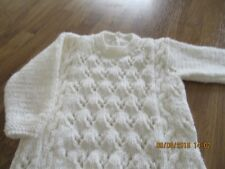 hand knit baby sweater cable and lace white 3 / 6months chest 46cms / 18inch
