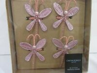 Cynthia Rowley Spring Pink Beaded Dragonfly Napkin Rings set of 4 or 8