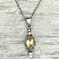 DECO Sterling Silver YELLOW Topaz Faceted Pendant Chain Necklace 925 Vintage