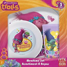 Zak! Designs Mealtime Set with Plate, Bowl and Tumbler Featuring Trolls Graphics