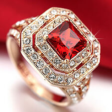 18K Rose GOLD GF R119 ANTIQUE SQUARE COCKTAIL WOMEN SOLID RING SIMULATED DIAMOND