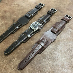 Size 20/22mm Anti-Metal Allergy Cow Leather Bund Style Watch Strap/Band #072