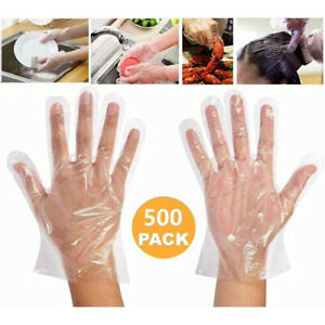 500x Cheap Vinyl Plastic GLOVES Disposable PREMIUM POLYTHENE Catering Mechanics