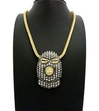 """NEW ICED OUT BLACK GOON MASK PENDANT & 6mm 30"""" FRANCO CHAIN HIP HOP NECKLACE"""