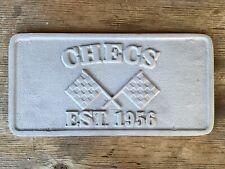 Vintage Checs Car Club Plaque Plate Sign Hot Rod Checkered Flag Aluminum 1956