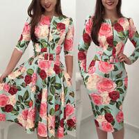 Women's Vintage Retro Floral Rockabilly Pinup Party Swing Bodycon Clubwear Dress