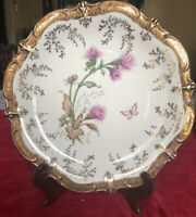 "Mid Century Hand Painted Schumann Artzburg Bavaria 11"" Charger Butterfly+Flowers"