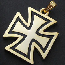 BIKER IRON CROSS | FREEMASON | TEMPLAR JUMBO Size PENDANT 14k Yellow GOLD GL