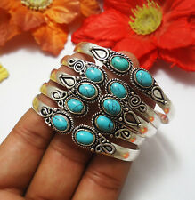 Turquoise Gemstone Cuff Bracelet 925 Sterling Silver Plated Jewelry BG-1