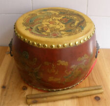"""7.08""""Vintage Chinese Dragon Style Rosewood Leather Drum Percussion (Low War Drum"""