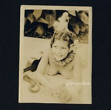 PRETTY NUDE HAWAII GIRL w UKULELE / NACKTES MÄDCHEN Vintage 30s Soldier's Photo