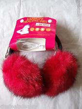Red Black Faux Fur Earmuffs Warmers Headphones Compatible MP3 Smartphone Laptop