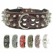 "Neck 14-23"" DOG COLLAR leather Studded spiked big pet Large Standard Necklace"