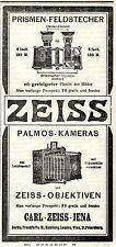 Carl Zeiss Jena PRISMEN-FELDSTECHER + PALMOS-KAMERAS  Kolonialwerbung von 1908