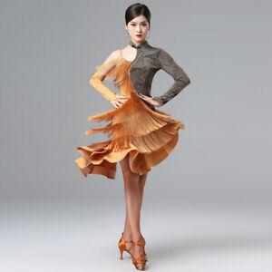 Adult Latin Dance Costume Dress Jazz Tango Skirt Ballroom Competition Practice