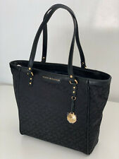 NEW! TOMMY HILFIGER BLACK SHOPPER SATCHEL TOTE BAG PURSE $98 SALE
