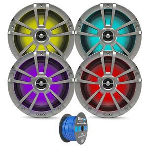 "4x Titanium OEM Replacement Infinity 6.5"" 225W Marine Speakers w/ RGB LED Lights"