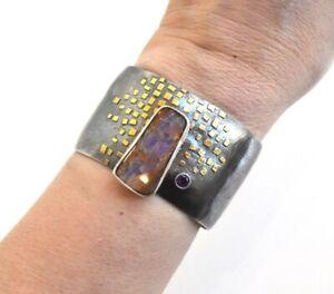 PatMcCleery Boulder Opal Cuff Bracelet Sterling 22k Gold Handmade $890