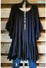 Loose Fit Jersey Volants Lagenlook Tunika Minikleid Longshirt schwarz 44 46  NEU