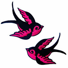 Lot of 2 Bird Swallow Sparrow Tattoo Biker Embroidered Iron on Patch # Pink