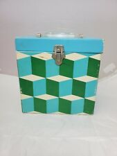 Vintage 1960'S Platter-Pak 45 RPM Record Carrying Case Blue Green Psychedelic