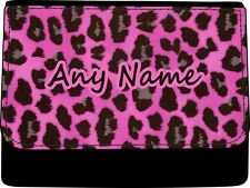 PERSONALISED ANIMAL PINK LEOPARD PRINT LADIES FAUX LEATHER PURSE GIFT BIRTHDAY