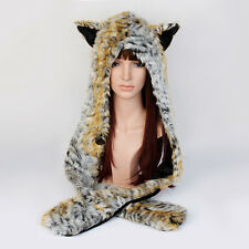Tiger Full Hood Faux Fur Hat with Scarf Mittens Paws Spirit 3 in 1 Great Gift