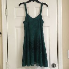 Free People Womens Medium  Green Lace Dress with adjustable straps floral