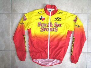 Sun & Ski SPorts Voler Biking Cycling UPS Texas Yellow Jersey Shirt USED SMALL S