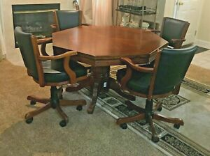 Beatiful Vintage Octagon Wood Gaming/Poker Table with 4 Swivel/Adjustable Chairs