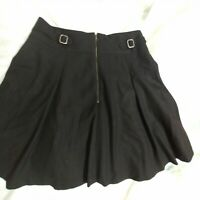 ELIE TAHARI Womens Black Wool Aline Skirt Knee Length Silver Buckle Trim Size 12