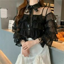 Women Lace Ruffle Blouse Shirt Top Lolita Gothic Hollow Out Frilly White Black