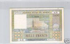 BANQUE D'ETAT DU MAROC 1 000 FRANCS 15.11.1956 ALPHABET A.21 PICK 47 !!!