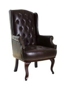 Chesterfield Wing Back Queen Anne High Back Fireside Armchair Sofa Chair Leather